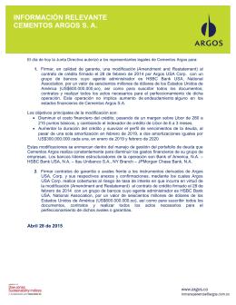 INFORMACIÓN RELEVANTE CEMENTOS ARGOS S. A.