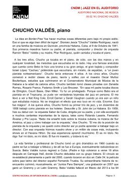 Biografía Chucho Valdés - Centro Nacional de Difusión Musical