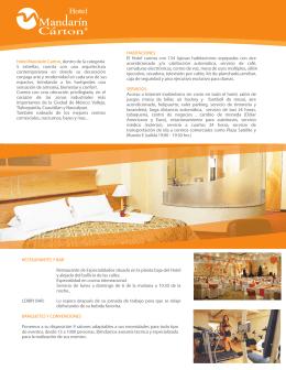 Hotel Mandarín Carton, dentro de la categoría 5 estrellas, cuenta
