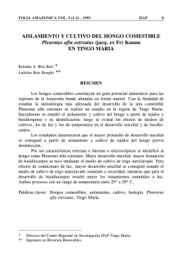 AISLAMIENTO Y CULTIVO DEL HONGO COMESTIBLE Pleurotus
