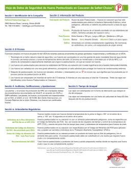 Hoja de Datos de Seguridad de Huevo Pasteurizado en Cascaron