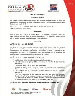 Resolucion - Federación Colombiana de Patinaje