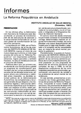 La Reforma Psiquiátrica en Andalucía