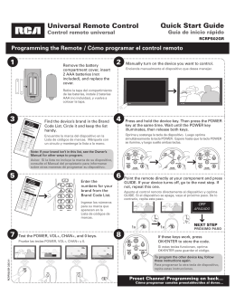 Universal Remote Control Quick Start Guide