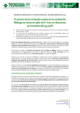 El precio de la vivienda usada en la ciudad de Málaga se sitúa en