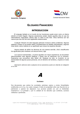 GLOSARIO FINANCIERO INTRODUCCION