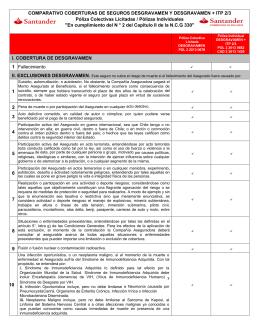 COMPARATIVO COBERTURAS DE SEGUROS DESGRAVAMEN Y