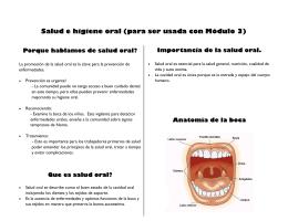 Información adicional para examinar salud oral