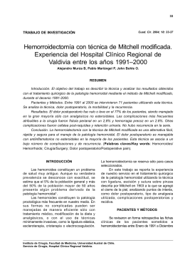 Hemorroidectomía con técnica de Mitchell modificada