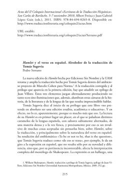 Hamlet» y el verso en español. Alrededor de la traducción de