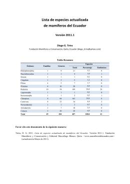 Versión 2011.1 (Marzo) - Mamíferos del Ecuador