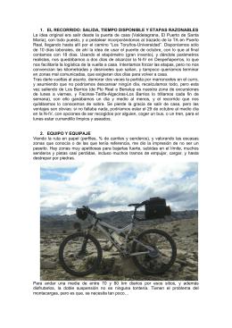 1. EL RECORRIDO: SALIDA, TIEMPO DISPONIBLE
