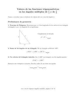 Valores de las funciones trigonométricas en los ángulos múltiplos