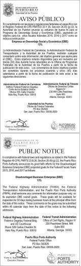 Aviso DBE FY 2015-17-FTA