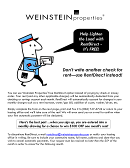 Help Lighten the Load with RentDirect - It`s FREE!