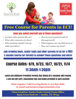 Free Course for Parents in ECI!