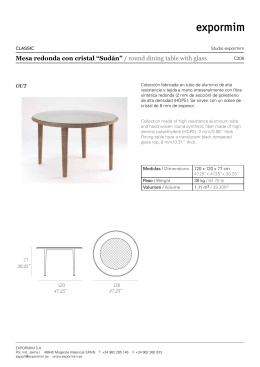 "Mesa redonda con cristal ""Sudán"" / round dining table with glass"