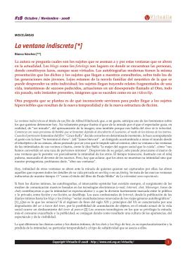 La ventana indiscreta - Virtualia - Escuela de la Orientación Lacaniana