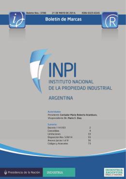 Boletín de Marcas - Instituto Nacional de la Propiedad Industrial
