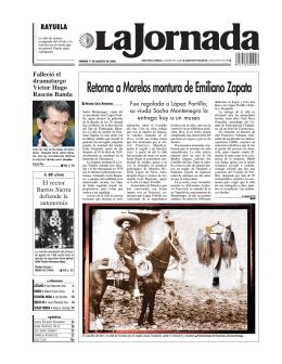 Retorna a Morelos montura de Emiliano Zapata