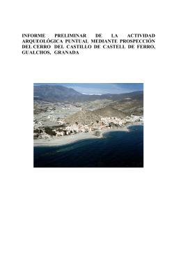 Para la prospeccin del Cerro del Castillo de Castell de Ferro, de