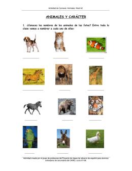 ANIMALES Y CARÁCTER