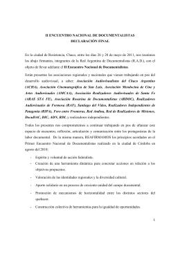 Declaracion II Encuentro Nacional De Documentalistas Chaco