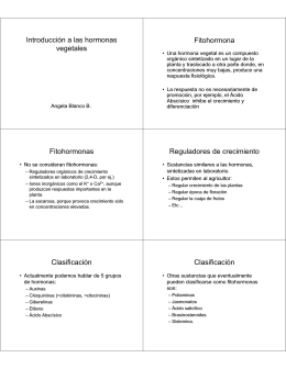 Introducción a las hormonas vegetales Fitohormona Fitohormonas