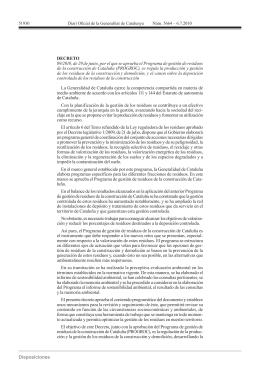 Programa de gestión de residuos de la Construcción a Cataluña y el