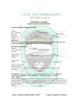 Inscripción 2015 2016 - Club Deportivo El Palo Pedregalejo Futbol