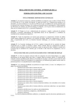 Reglamento de Control Antidopaje de la Federación Española