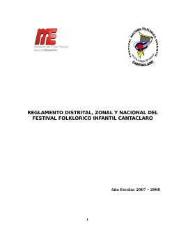 reglamento distrital, zonal y nacional del festival folklórico infantil