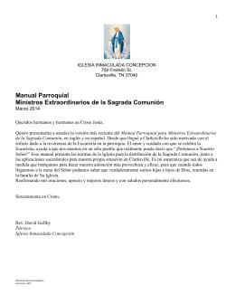 Manual Parroquial Ministros Extraordinarios de la Sagrada Comunión
