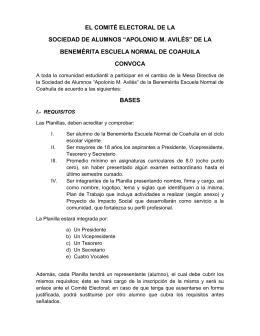"""el comité electoral de la sociedad de alumnos """"apolonio m. avilés"""""""