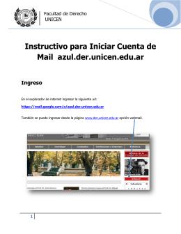 Instructivo para Iniciar Cuenta de Mail azul.der.unicen.edu.ar