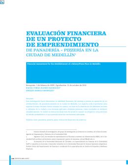 evaluación financiera de un proyecto de emprendimiento
