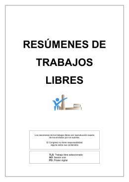 RESÚMENES DE TRABAJOS LIBRES
