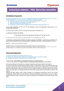 Estructura atómica – PAU- Ejercicios resueltos