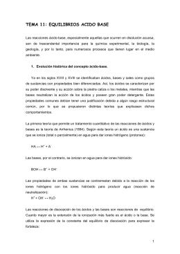 TEMA 11: EQUILIBRIOS ACIDO BASE