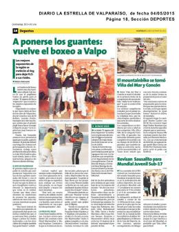 DIARIO LA ESTRELLA DE VALPARAÍSO, de fecha 04/05/2015