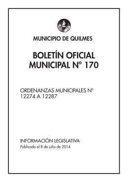 BOLETÍN OFICIAL MUNICIPAL Nº 170