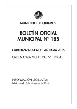 BOLETÍN OFICIAL MUNICIPAL Nº 185