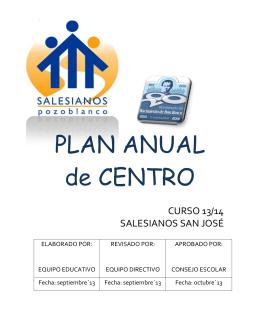 PLAN ANUAL de CENTRO - Salesianos Pozoblanco