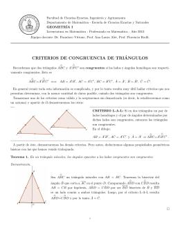 criterios de congruencia de tri´angulos
