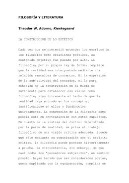 Theodor W. Adorno, Kierkegaard - Estética y filosofía del arte