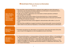World Bank Policy on Access to Information Qs & As