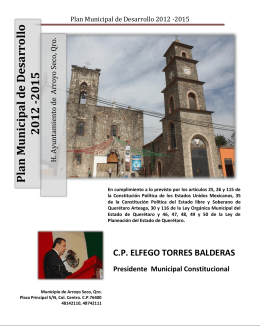 Plan Municipal de Desarrollo 2012 -2015