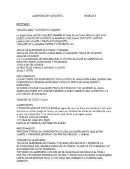ALiMENTACION CONCIENTE. MODULO 5 RECETARIO
