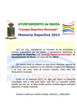 Memoria Deportiva 2014 - Ayuntamiento de Navia