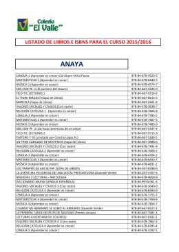 isbns 2015-2016 - Colegios El Valle